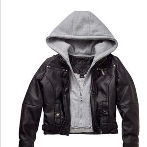 Hooded faux- leather jacket
